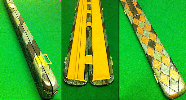 Leatherette Diamond Stitch Patchwork 3/4 Snooker Cue Case